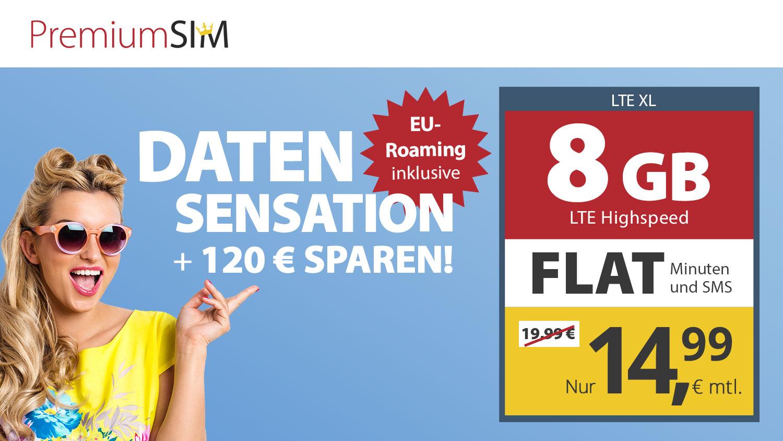 Nur bis zum 21.06.: 8 GB LTE Datenvolumen + Allnet-Flat für nur 14,99€/Monat